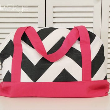 Charcoal Gray and White Chevron with Solid Pink Weekender - Weekend Bag - Overnight Bag - Diaper Bag - Girl Diaper Bag