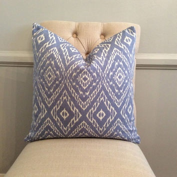 Handmade Decorative Pillow Cover - Diamond - Blue - White
