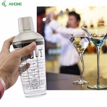 1pc 450ML Boston Cocktail Shaker Stainless Steel Beer Bartender Flask Bar Tools Vin Wine Champagne Glass Cup Shake For Party