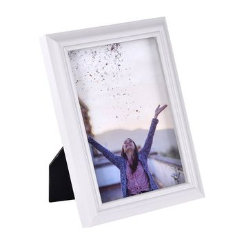 4x6 inch Picture Frame Made of Solid Wood High Definition Glass for Table Top Display and Wall mounting photo frame White