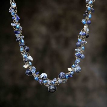 Sodalite blue pearl Chunky crocheted wiring choker necklace Bridesmaids gifts Free US Shipping handmade Anni Designs