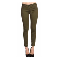"""""""Always My Style"""" Button Closure Pocket Detail Olive Skinny Jeans"""
