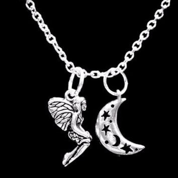 Fairy Crescent Moon Celestial Mythical Fantasy Mythology Gift Charm Necklace