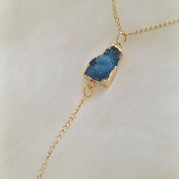 Electric Blue Druzy Crystal Drop Chain Necklace