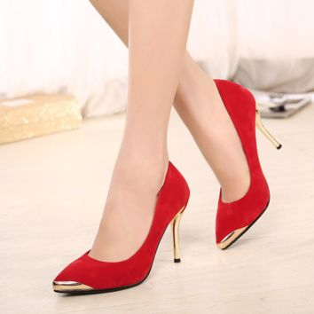 Elegant Stylish Gold Tip Gold Heels