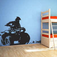 ATV Quad Bike Wall Decal, 4 Wheeler Off Road Wall Sticker, 4x4 ATV Wall Decal Decor, 4 Wheeler Kids Bedroom Wall Decor Art, ATV Mural se172