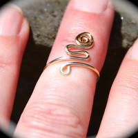 Adjustable SnakeToe ring, Sterling Silver Filled Ring, Gold Tone Toe Ring, Midi Ring, Knuckle Ring