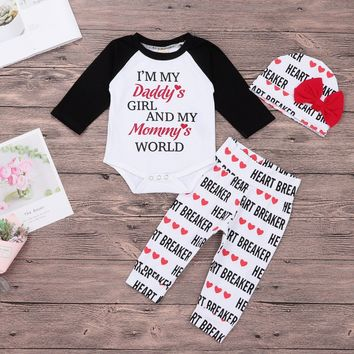 I'm My Daddy's Girl and My Mommy's World 3PC Valentine's Outfit