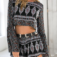 Black Geometric Print Two Piece Shorts Set