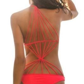 Glamorous Halter Caged Strappy Red One Piece Cheeky Swimsuit