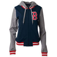 Women's Boston Red Sox 5th & Ocean by New Era Navy Opening Night French Terry Full-Zip Raglan Hoodie