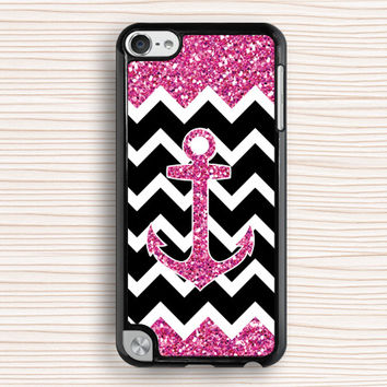 glittering ipod case,girl's ipod 5 case,gift ipod 4 case,anchor ipod 5 touch case,anchor and chevron ipod touch 4 case,touch 4 case,touch 5 case
