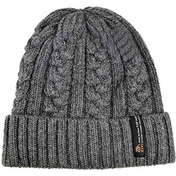 Merryfun Men's Oversize Cuff Warm Soft Stretch Cable Knit Beanie Hat Grey