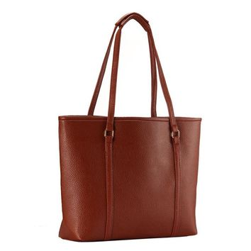 Simple handbag for commuter travel Women's casual embossed bags Western trendy shoulder bag (Brown)