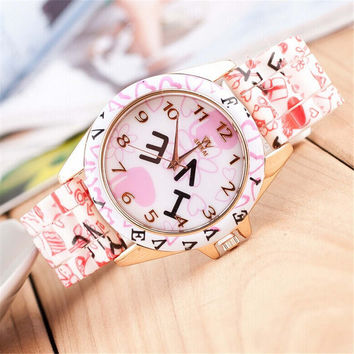 Womens Girls Casual Sports Silicone Strap Watch Best Christmas Gift 381