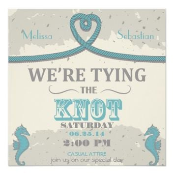 Nautical Beach Heart Knot Wedding Invite