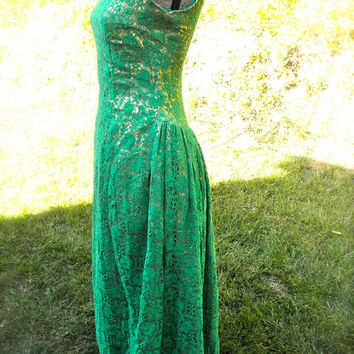 Vintage Southern belle dress 1960s Ball Gown // Green Lace Over Gold // Sleeveless // Full Length Formal
