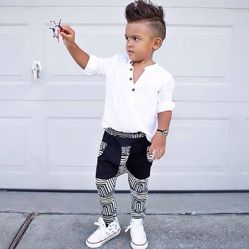 Newest Spring Autumn Toddler Kids Baby Boys Clothes Set White T-shirt Tops+Fashion Pants 2Pcs Casual Outfits Clothing Set 3-7Y