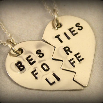 Hand Stamped Besties for Life Necklaces - Hand Stamped Best Bitches Split Heart Necklaces - BFF Jewelry, Best Bitches Jewelry