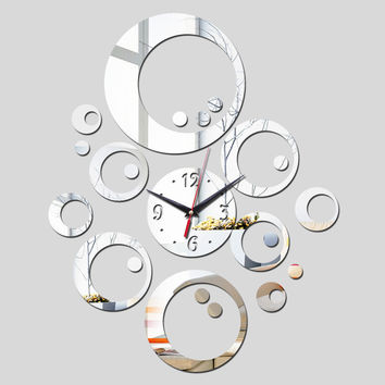 2016 promotion hot sale quartz watch wall clock modern home decoration diy antique acrylic mirror Wall Stickers