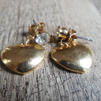 Avon Gold Tone Heart Drop Earring