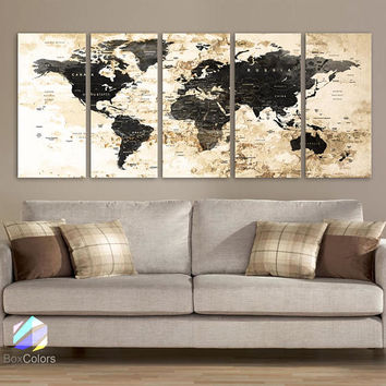 "XLARGE 30""x70"" 5 Panels 30""x14"" Ea Art Canvas Print Watercolor Black Beige Map World Push Pin Travel Wall decor (framed 1.5"" depth)M1827"