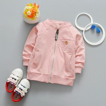 Children Cardigan 2017 New Children's Clothing Solid Color Baby Boys Girls Bomber Jackets Kids Autumn Long Sleeve Coats 0-3 Year