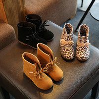 Kids Shoes girls Boys 3Color Leopard Black Brown High Children Sneakers girl Baby Shoes Sport Autumn Winter Children Shoes