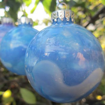 Navy and Aqua Blues hand painted Glass Christmas Ornament, glows in the dark, Christmas decoration with deep violet glow pigment