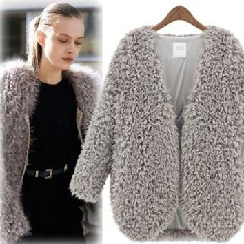 Winter Autumn Cosy Fur Coat Outwear +Gift Necklace