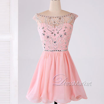 Short sweetheart strapless pearls beading pink homecoming dress,Short chiffon homecoming dress,Short pink chiffon open back prom dress