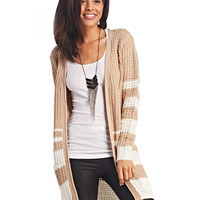 Bold Stripe Long Open Cardi | Wet Seal