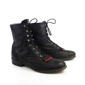 Roper Boots Vintage 1980s Laredo Leather Black and red Granny Lace up Packer Women's size 10 M
