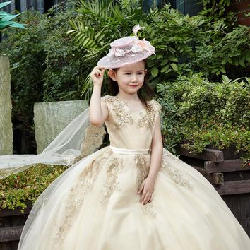 Children Party Gown High-grade Luxury Gold Lace Embroidery Sleevelss with Shawl Long Flower Girl Dress for Wedding
