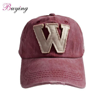 Cotton Embroidery Letter W Baseball Cap Snapback Caps Bone Sports Hat Distressed Wearing Style Outdoor Hat For Men Cusom Hats