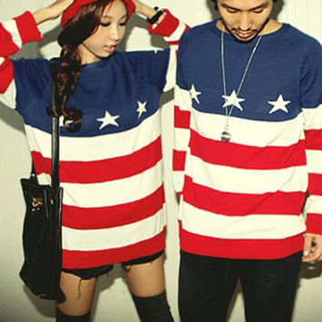 New  American Flag Printed Sweater For Lovers