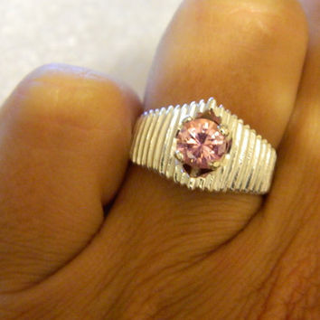 Promise purity birthstone ring  pink ice round pyramid