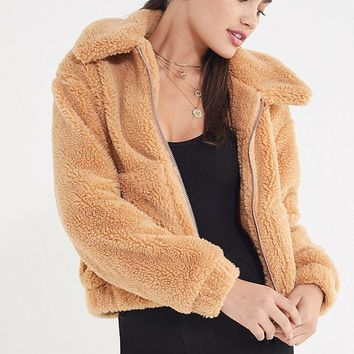 UO Cropped Teddy Jacket | Urban Outfitters