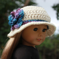 crochet beanie style hat with flower and flare brim, crochet doll hat, 18 inch doll clothes, american girl, maplelea