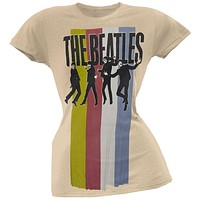 The Beatles - Stripes Standing Group Juniors T-Shirt