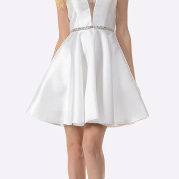 Off White Satin V-Neck Embellished Waist A-Line Homecoming Dress Short