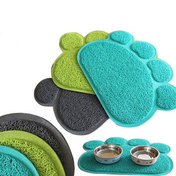1 Pc Paw Shape Dog Placemat Puppy Pet Cat Dish Bowl Mats Food Water Mat Wipe Kitchen Tools = 1929536004