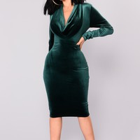 Beck Velvet Dress - Hunter Green
