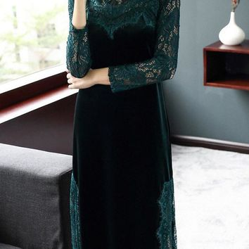 Velvet and Lace Qipao Dress