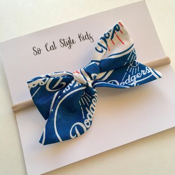 Dodgers Tie knot hair bow