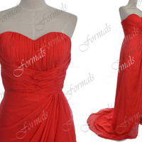 Strapless Sweetheart Long Chiffon Red Evening Dresses, Red Prom Dresses, Formal Gown, Evening Gown, Red Celebrity Dresses