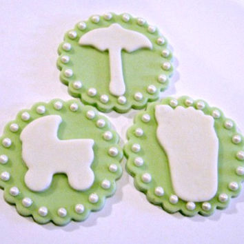 Light Green Baby Shower Toppers. Set of 12 (one dozen, 4 of each pattern) or 12 of the same!