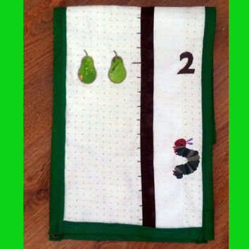 Very Hungry Caterpillar inspired Growth Chart (gender neutral, fruit, dots, cloth, fabric, keepsake, hanging)