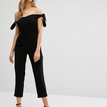New Look Bardot Tie Sleeve Cropped Jumpsuit at asos.com
