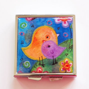 Bird pill box, Bird pill case, Square Pill box, Square Pill case, Pill Case, Pill Box, 4 Sections, orange, blue, Lauren Alexander (4073)